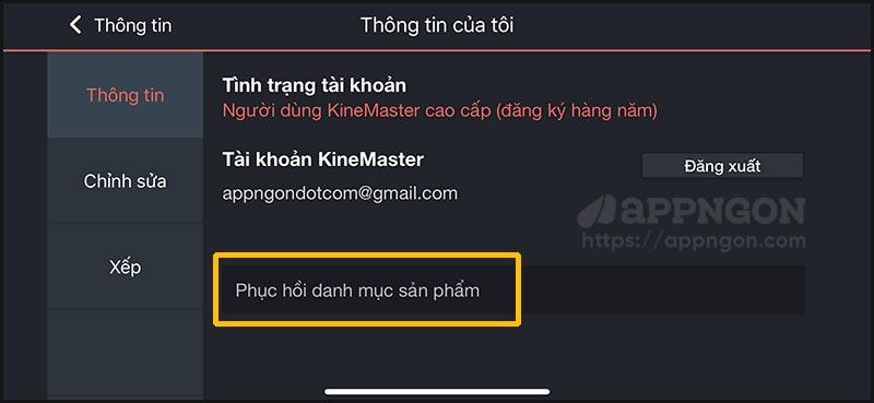 Cách khôi phục giao dịch mua KineMaster