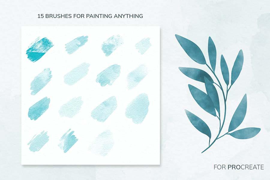 Brushes màu nước cho Procreate